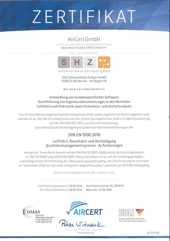 Zertifikat für Anforderungen an Qualitätsmangementsysteme DIN EN 9100:2010