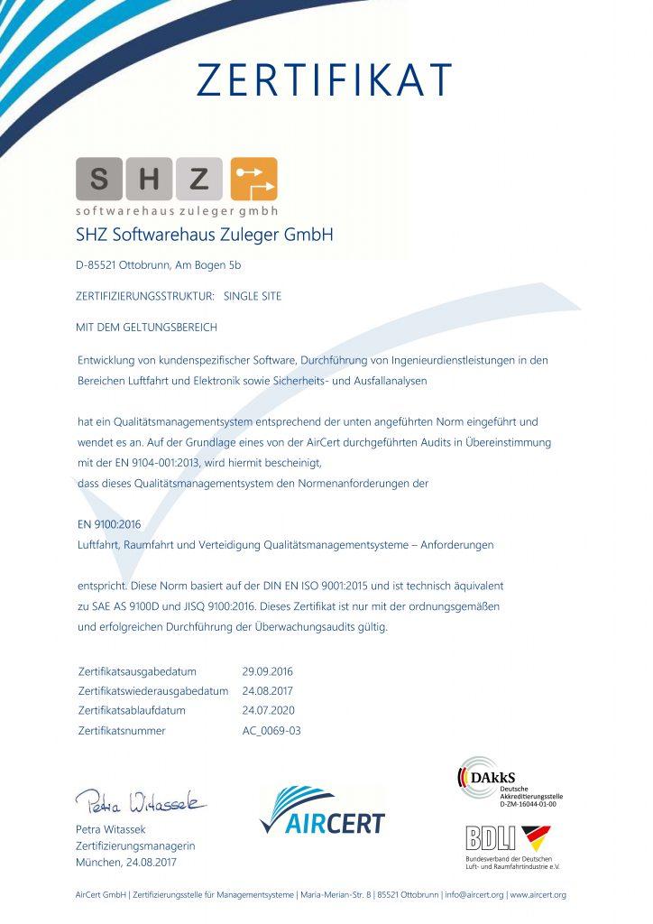 Zertifikat für Anforderungen an Qualitätsmangementsysteme DIN EN 9100:2016